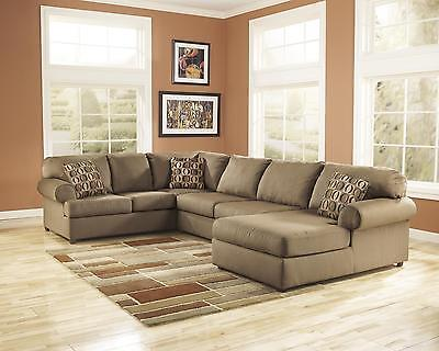 Ashley Cowan Living Room Sectional 4pcs in Mocha Right Facing Contemporary Style