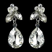 Dangle Earrings #2564 Silver Clear Teardrop & Marquise CZ Crystal - $15.49