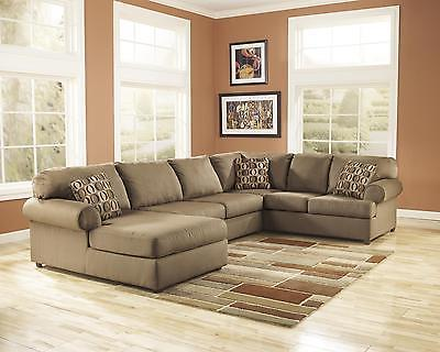 Ashley Cowan Living Room Sectional 4pcs in Mocha Left Facing Contemporary Style