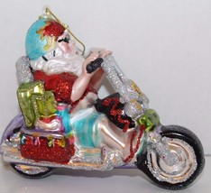 Glass Blown Christmas Tree Ornament Santa Clause Motorcycle Funky Groovy - $28.04