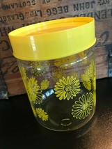 Vintage MCM Pyrex Corning Glass Canister Air Tight Lidded Yellow Daisies... - $38.69