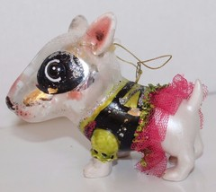 Glass Blown Christmas Tree Ornament Dog Funky Tutu Green Holiday Decor - $14.01