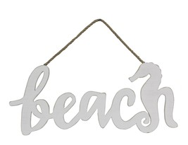 Beach and Seahorse Cut Out Wall Hanging Sign Wood 16 Inches - $37.76