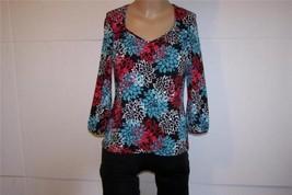 GEORGE Shirt Top Sz M 8/10 Floral Spandex Stretch V-Neck 3/4 Sleeves Ladies - $12.16