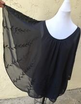 FREE PEOPLE chiffon POINTED CAPE Poncho GRAY beaded XS Tunic Dress - $76.23