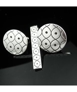 INFINITY Vintage Cufflinks Original box Swank silver tie clip set Design... - $135.00