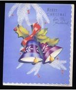 Vintage HUSBAND CHRISTMAS Greeting Card, Old Stock Unused  - Bell embell... - $18.50
