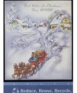 Vintage HUSBAND CHRISTMAS Greeting CARD - Old Stock Unused - Snow Stagec... - $9.00
