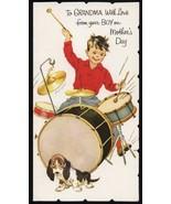 Vintage Drum Set Hound Dog  Greeting CARD - Old Stock Unused Mothers Day... - $8.50