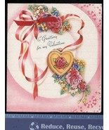 Vintage VALENTINE die cut LOCKET oLd stOcK UNUSED lOve RoManCE roses - $19.99