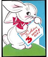 Vintage Child 3 yr Old  Birthday Greeting Card- oLd  Unused Third 3rd Bd... - $7.25
