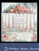 Pretty EMBOSSED BIRTHDAY Greeting CARD oLd stOcK Unused Picket Fence, co... - $7.45