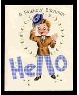 Vintage Birthday Greeting CARD CHEERY HELLO Handshake Old Stock unused. ... - $8.45