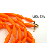 Crown Trifari Vintage Lucite Necklace with Nearly 5 Ft of Orange Beads - $29.00