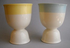 2 Egg Cups Yellow Blue Band Stripe Vintage Whit... - $28.00