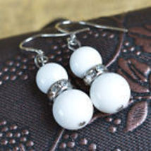WHITE BEAD WITH RHINESTONE DANGLE EARRINGS  - $2.99