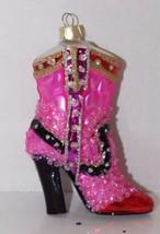 Glass Blown Christmas Tree Ornament Kinky Fuschia Boots Holiday Glitter ... - $28.04