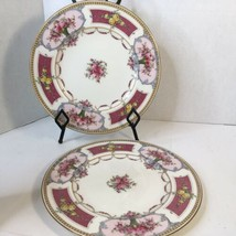 """2 Antique Royal Worcester 10 5/8"""" Dinner Plates  Pink Panels Pink Roses ... - $50.00"""