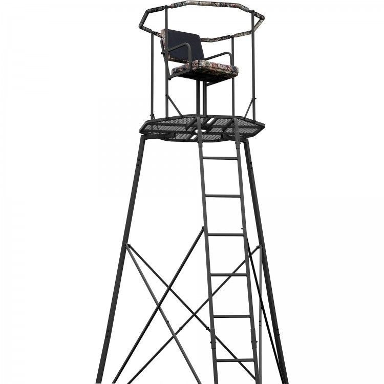 Hunting Tripod Tree Stand 15` with Ladder And Cushioned Seat Deer Turkey Bear