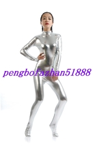 Silver Shiny Metallic Sexy Body Suit Catsuit Costume Halloween Cosplay Suit S010 - $32.99