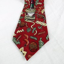Tabasco Brand Mens Silk Red Necktie Novelty Pasta Noodles Bottle Tie 56i... - $11.17
