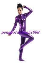 Purple Shiny Metallic Sexy Body Suit Catsuit Costume Halloween Cosplay Suit S012 - $32.99