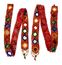 Mirror Inlay Strip work Wall Hanging ornament Christmas Diwali Party Han... - $16.98