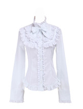 White Stand-up Collar Bow Carvat Ruffle Retro Victorian Lolita Shirt Blouse - $38.98