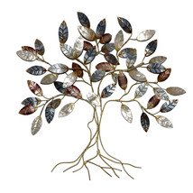 Tree Wall Sculpture Cool Colors Wrought Iron Branches Hand Painted Metal... - $114.77