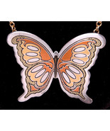 "REED & BARTON Damascene Necklace w Butterfly Pendant-21.5""-Jewelry-Ring ... - $43.00"