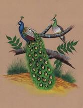 Indian Peacock Painting Handmade Watercolor Miniature Nature Bird Wild L... - $74.98