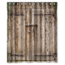 Vintage wooden Door #01 Shower Curtain Waterproof Made From Polyester - $31.26+