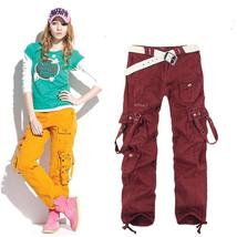 Womens Cargo Pockets Pants Hip Hop Dance Pants Causal Trousers For Outdoor Hikin