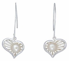 BKGjewelry Heart with Pearl Earrings Hook Women... - $23.00