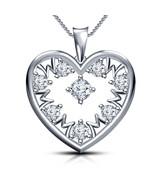 Rhodium 925 Silver Over White CZ Heart Shape Mom chain pendant / fashion... - $63.99