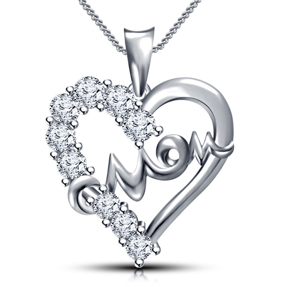"Primary image for Mother's day 925 Sterling Silver Heart in Mom Pendant with 18"" Chain + Free Gift"