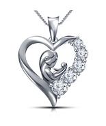 Mom & child Heart Pendant 14K Gold Over W/ Chain 925 Sterling silver - $63.99