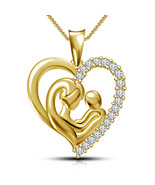 Mother's day special offer 14K Gold Plated 925 Sterling Silver Mom Heart... - $63.99