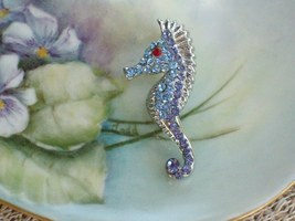 Cookie Lee Seahorse Brooch - Genuine Austrian Crystal, Item #67053 - New! image 1