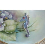 Cookie Lee Seahorse Brooch - Genuine Austrian Crystal, Item #67053 - New! - $9.00