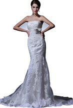 Albizia Applique Beaded Strapless Court Sheath Wedding Dress(8,White) - $199.00