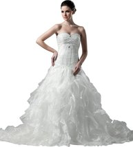 Albizia Tiered Ruffles Sweetheart Floor Length White Wedding Dress 20 , ... - $195.00