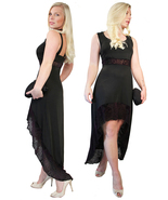 MontyQ Short Summer Black Evening Party Dress Asymmetric Purple Lace Hem - $25.00