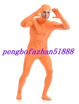 ORANGE LYCRA SPANDEX OPEN FACE BODY SUIT CATSUIT COSTUMES HALLOWEEN SUIT... - $32.99