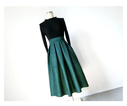 Women Suede Pleated Skirt High Waist Pleated Party Skirt DARK GREEN Suede Skirt image 2