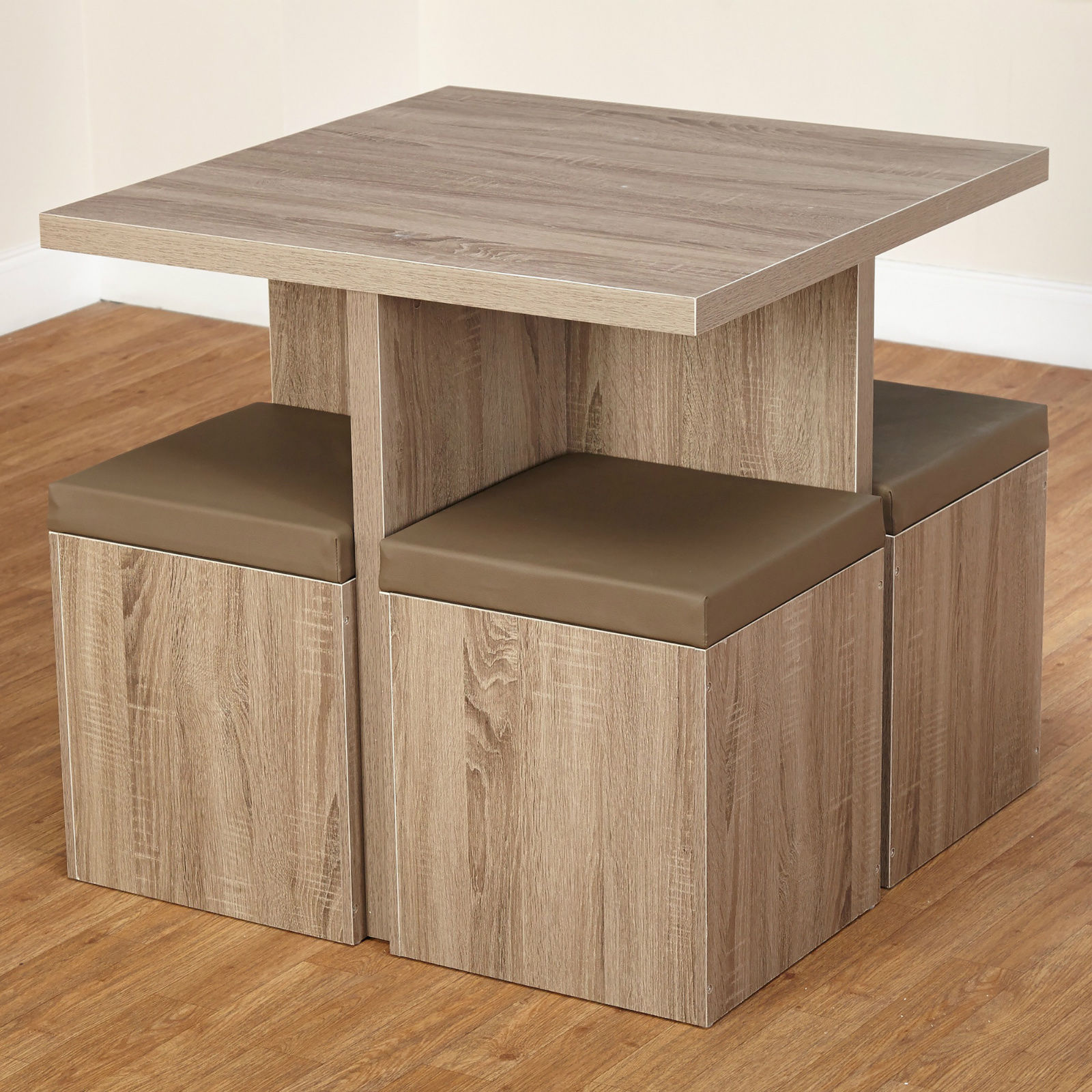 Cottage dining set reclaimed wood square dinette tables for Small dining table with storage