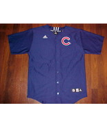 adidas MLB NL Wrigley Central Chicago Cubs Logo Boys Blue Baseball Jersey XL - $39.59