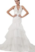Albizia Organza Ruffle Court Train Tiered Mermaid Wedding Dress(12,Ivory) - $185.00