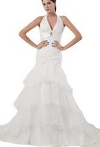Albizia Organza Ruffle Court Train Tiered Mermaid Wedding Dress(12,Ivory) - £139.11 GBP