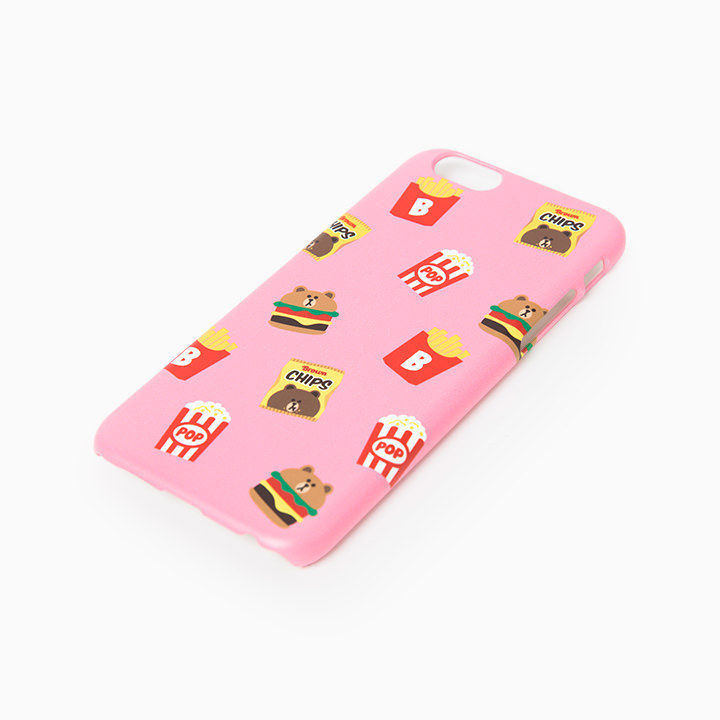 LINE Friends Pink Burger & Chips iPhone Hard Case SE/5/5s/6/6s/Plus Cover Mobile